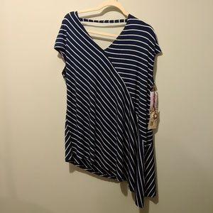 Tops - Bamboo Cotton New Navy and White Bias Cut Shirt